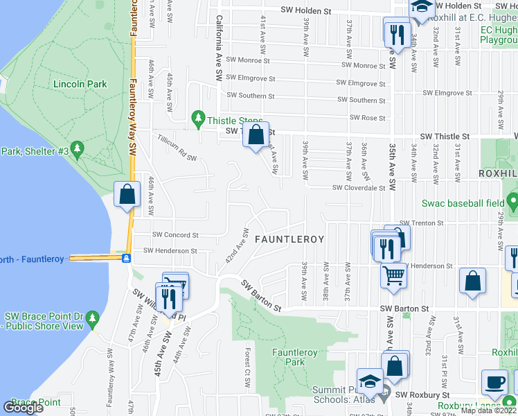 map of restaurants, bars, coffee shops, grocery stores, and more near 8600-8606 Vashon View Place Southwest in Seattle