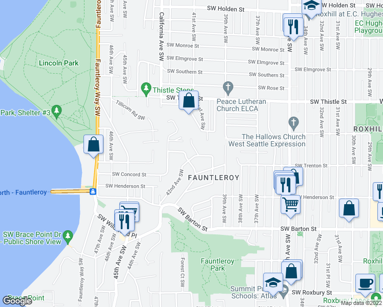 map of restaurants, bars, coffee shops, grocery stores, and more near 4058 Southwest Donovan Street in Seattle