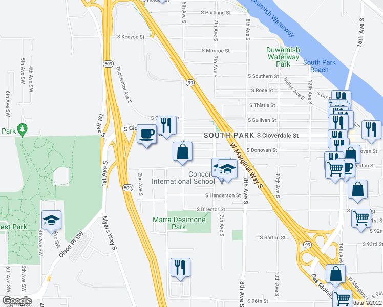 map of restaurants, bars, coffee shops, grocery stores, and more near 515 South Donovan Street in Seattle