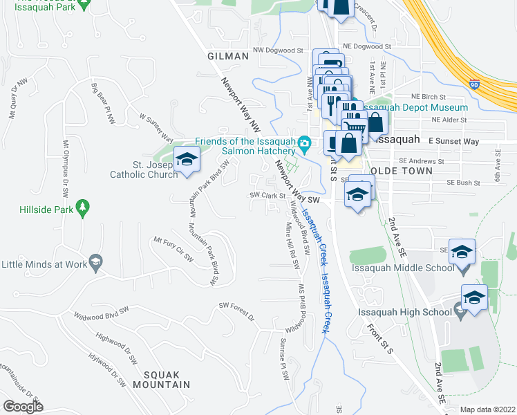 map of restaurants, bars, coffee shops, grocery stores, and more near 245 Southwest Clark Street in Issaquah
