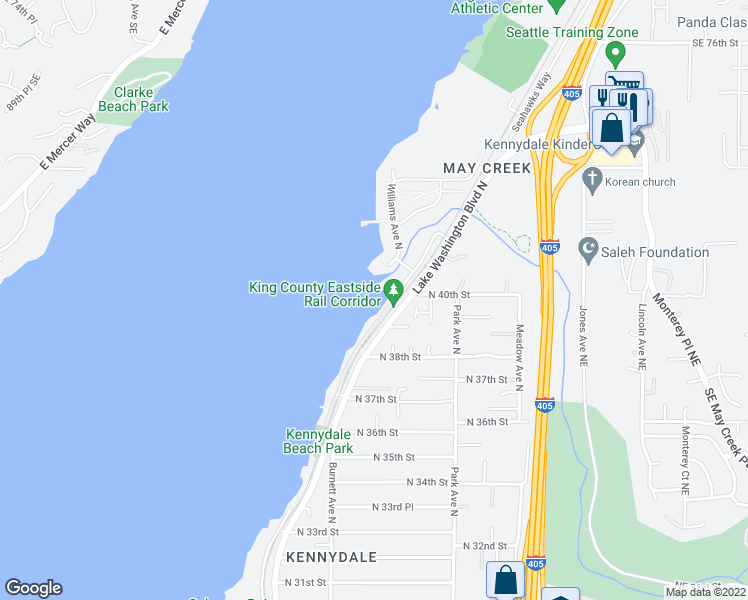 map of restaurants, bars, coffee shops, grocery stores, and more near 3979 Lake Washington Boulevard North in Renton
