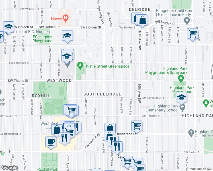 map of restaurants, bars, coffee shops, grocery stores, and more near 8412 Delridge Way Southwest in Seattle