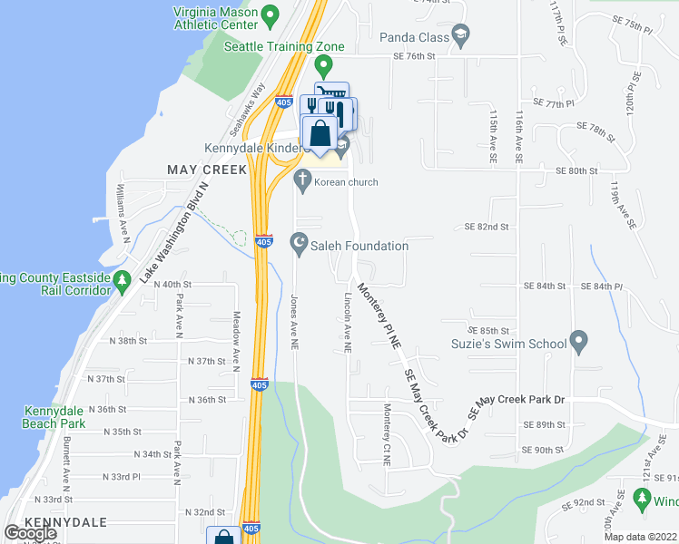 map of restaurants, bars, coffee shops, grocery stores, and more near 1800 Northeast 40th Street in Renton