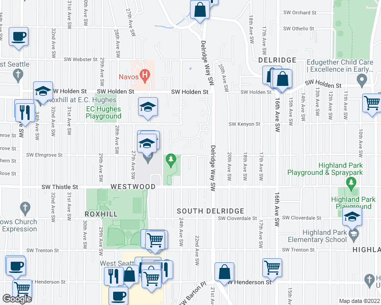 map of restaurants, bars, coffee shops, grocery stores, and more near 2208 Southwest Elmgrove Street in Seattle