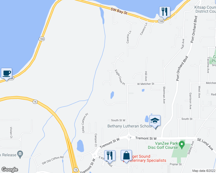 map of restaurants, bars, coffee shops, grocery stores, and more near 1181 Landover Place in Port Orchard