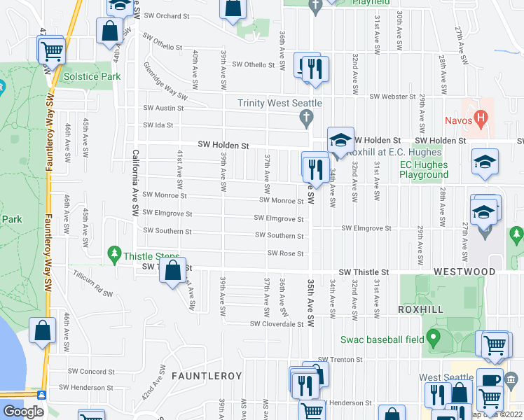 map of restaurants, bars, coffee shops, grocery stores, and more near 8011 37th Ave SW in Seattle