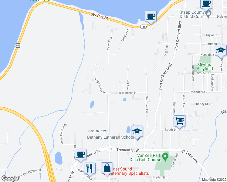map of restaurants, bars, coffee shops, grocery stores, and more near 1015 Heron Ridge Avenue in Port Orchard