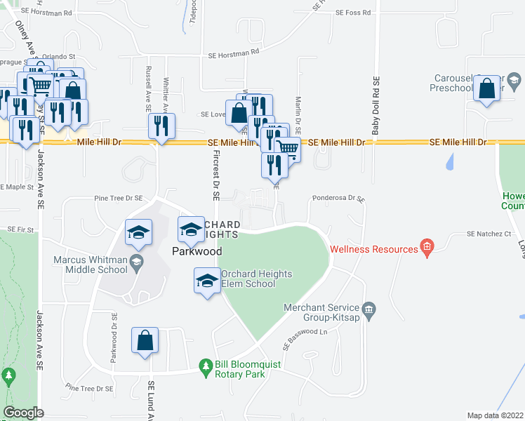 map of restaurants, bars, coffee shops, grocery stores, and more near in Parkwood