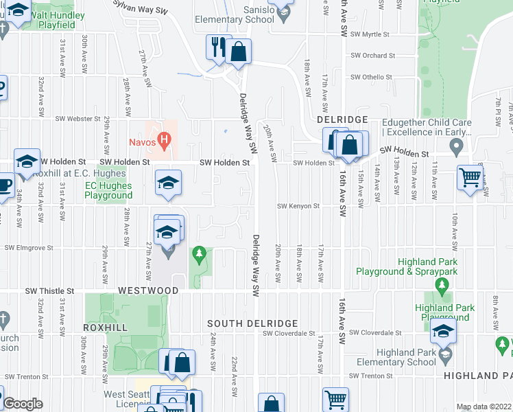 map of restaurants, bars, coffee shops, grocery stores, and more near 2248-2426 Southwest Kenyon Street in Seattle