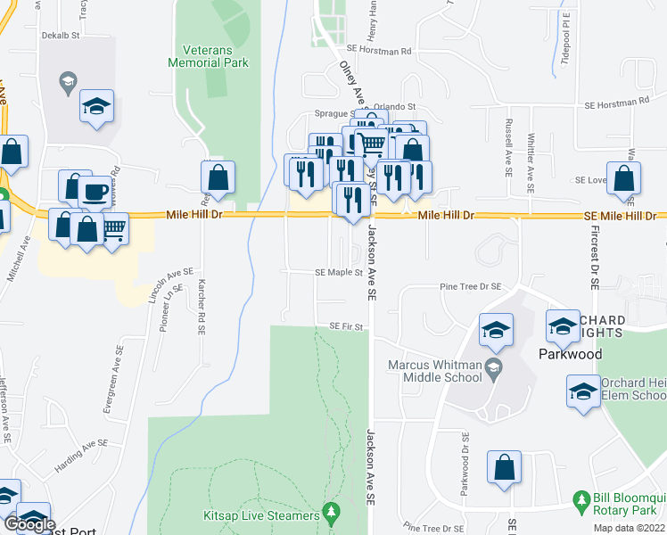 map of restaurants, bars, coffee shops, grocery stores, and more near 3061 Southeast Maple Street in Port Orchard