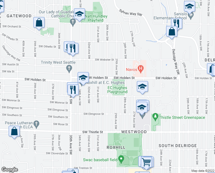 map of restaurants, bars, coffee shops, grocery stores, and more near 30th Avenue Southwest in Seattle