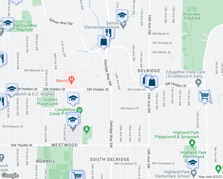 map of restaurants, bars, coffee shops, grocery stores, and more near Delridge Way SW & SW Holden St in Seattle