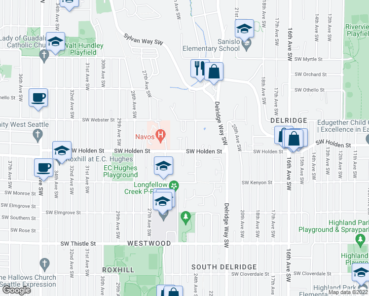 map of restaurants, bars, coffee shops, grocery stores, and more near 2420 Southwest Holden Street in Seattle