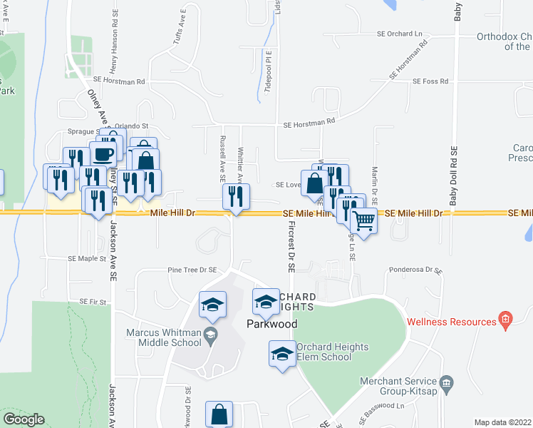 map of restaurants, bars, coffee shops, grocery stores, and more near 3900 Southeast Mile Hill Drive in Port Orchard
