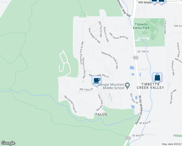 map of restaurants, bars, coffee shops, grocery stores, and more near 378 Northwest Pebble Lane in Issaquah