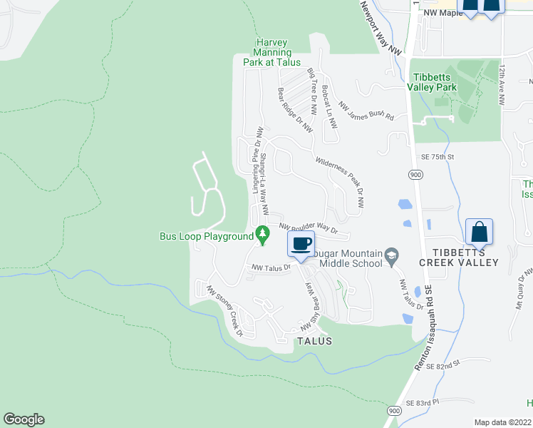 map of restaurants, bars, coffee shops, grocery stores, and more near Shangri-La Northwest in Issaquah