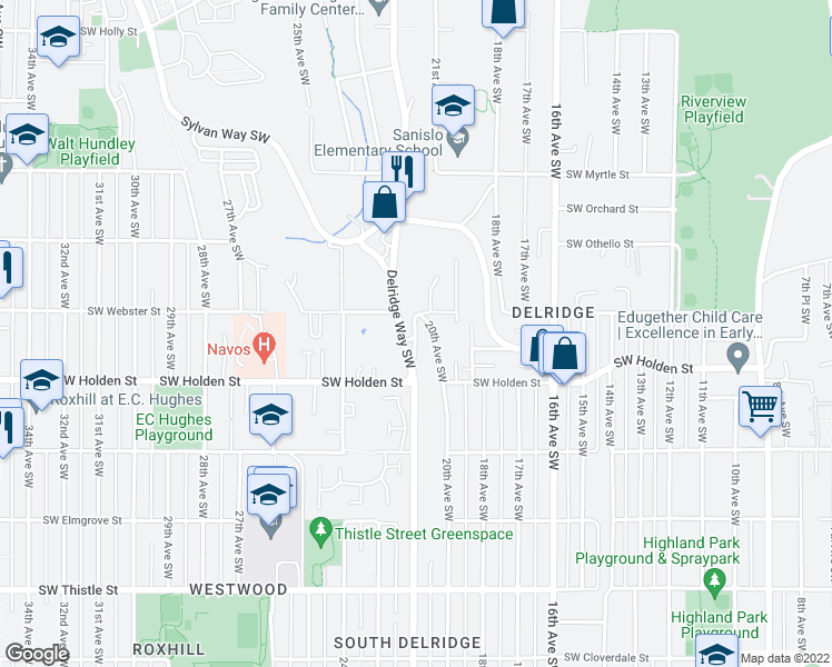map of restaurants, bars, coffee shops, grocery stores, and more near 21st Avenue Southwest in Seattle