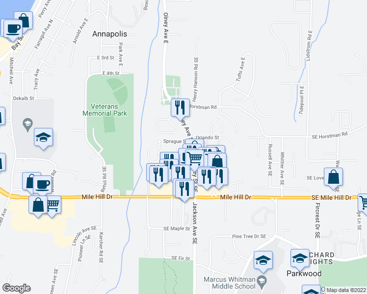 map of restaurants, bars, coffee shops, grocery stores, and more near 740 Glenmore Loop in Port Orchard