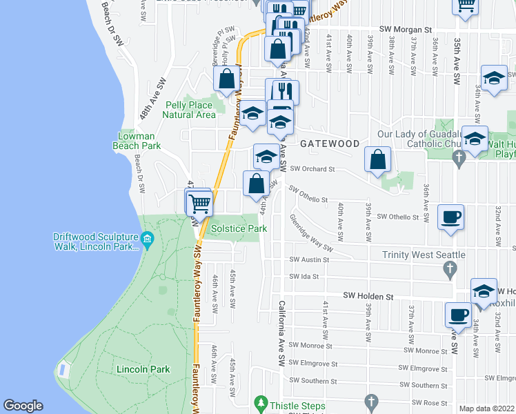 map of restaurants, bars, coffee shops, grocery stores, and more near 7337 44th Avenue Southwest in Seattle