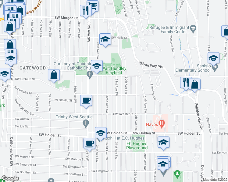 map of restaurants, bars, coffee shops, grocery stores, and more near 7149 31st Avenue Southwest in Seattle
