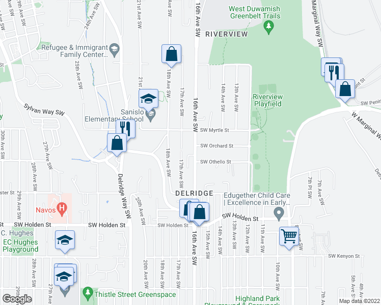 map of restaurants, bars, coffee shops, grocery stores, and more near 7211 16th Avenue Southwest in Seattle