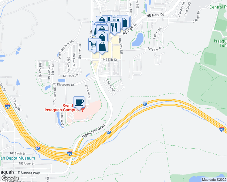map of restaurants, bars, coffee shops, grocery stores, and more near 940 10th Place Northeast in Issaquah