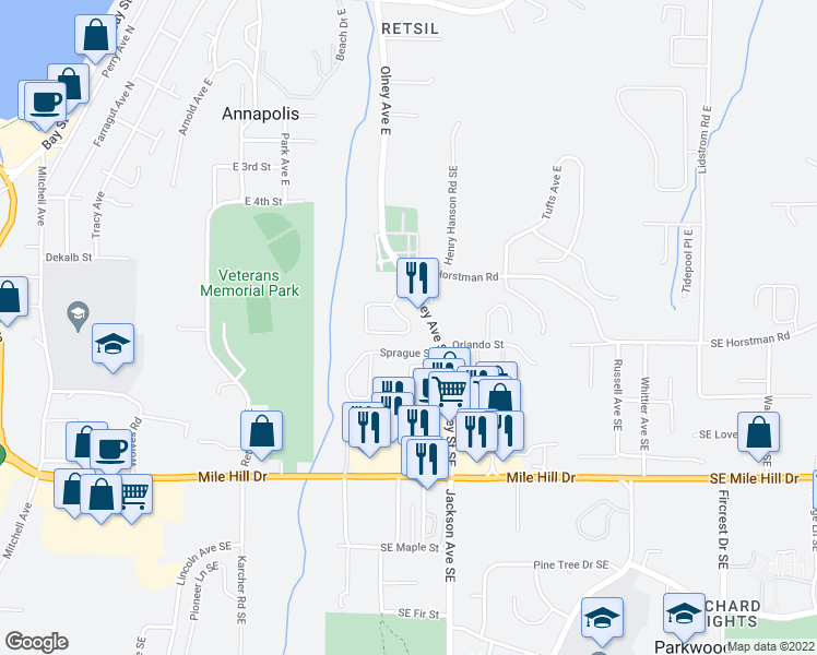 map of restaurants, bars, coffee shops, grocery stores, and more near 2948 Lowren Loop in Port Orchard