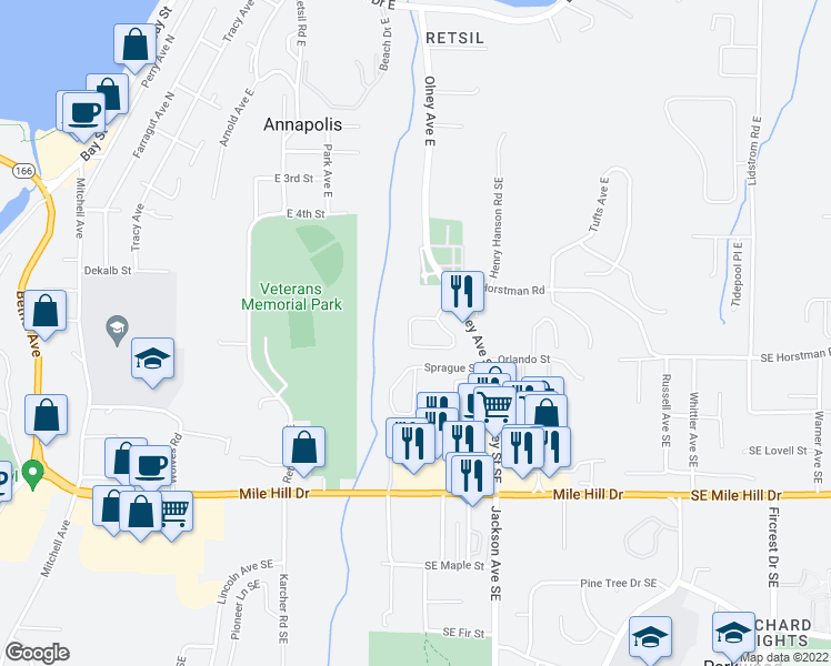 map of restaurants, bars, coffee shops, grocery stores, and more near 2971 Lowren Loop in Port Orchard