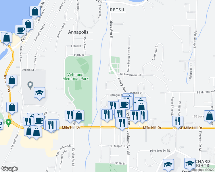 map of restaurants, bars, coffee shops, grocery stores, and more near 2969-2971 Lowren Loop in Port Orchard