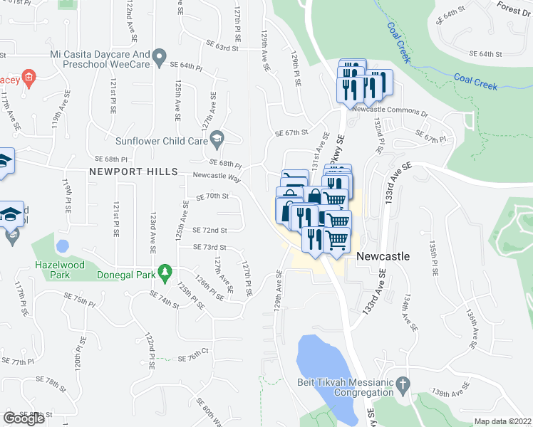 map of restaurants, bars, coffee shops, grocery stores, and more near 12832 Newcastle Way in Renton