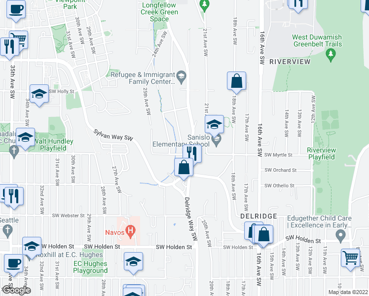 map of restaurants, bars, coffee shops, grocery stores, and more near 6982 23rd Avenue Southwest in Seattle