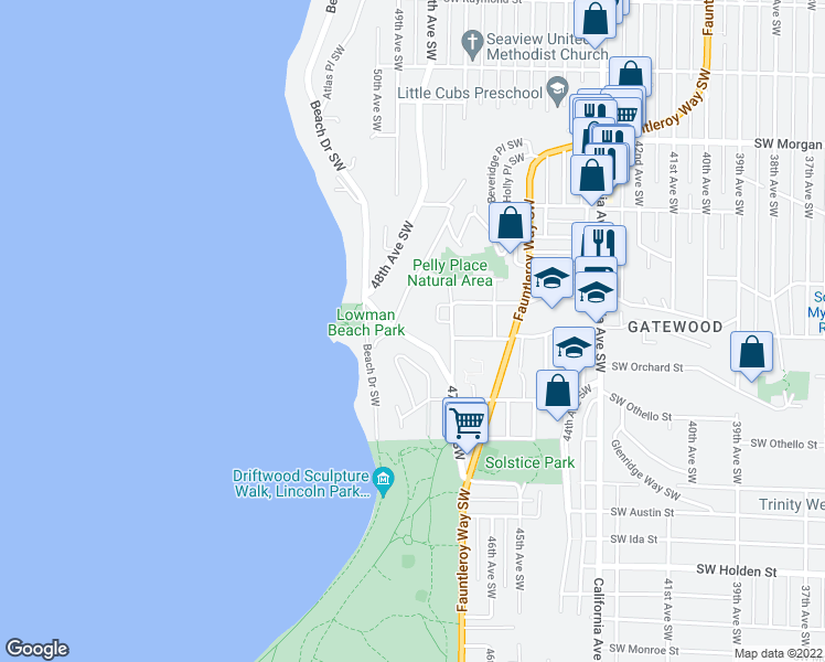 map of restaurants, bars, coffee shops, grocery stores, and more near 7060 Lincoln Park Way Southwest in Seattle