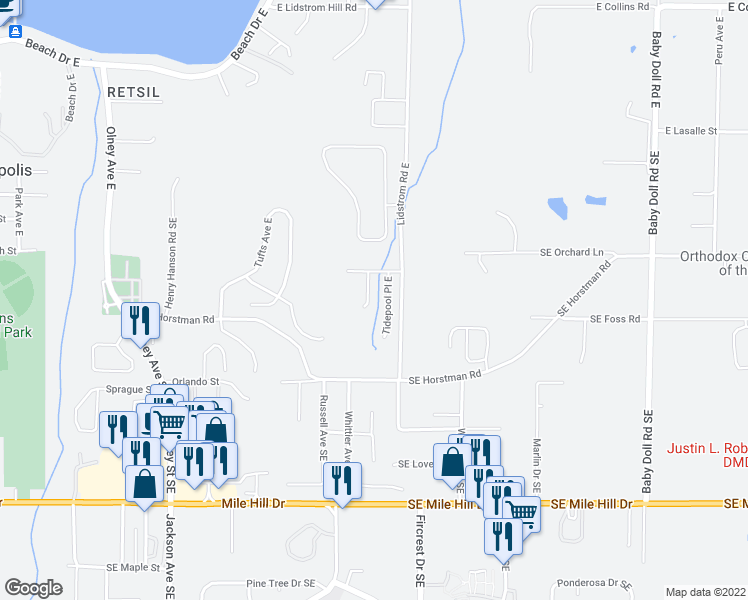 map of restaurants, bars, coffee shops, grocery stores, and more near 2107 Kelp Place East in Port Orchard