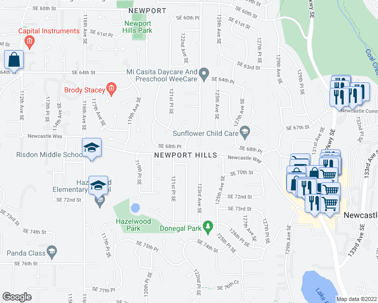 map of restaurants, bars, coffee shops, grocery stores, and more near 6860 123rd Ave SE in Bellevue