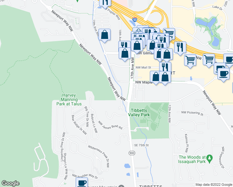 map of restaurants, bars, coffee shops, grocery stores, and more near 1917 Newport Way Northwest in Issaquah