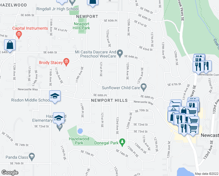 map of restaurants, bars, coffee shops, grocery stores, and more near 12210 Southeast 67th Place in Bellevue