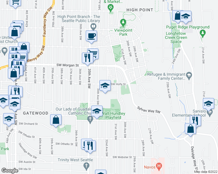 map of restaurants, bars, coffee shops, grocery stores, and more near 3203 Southwest Holly Street in Seattle