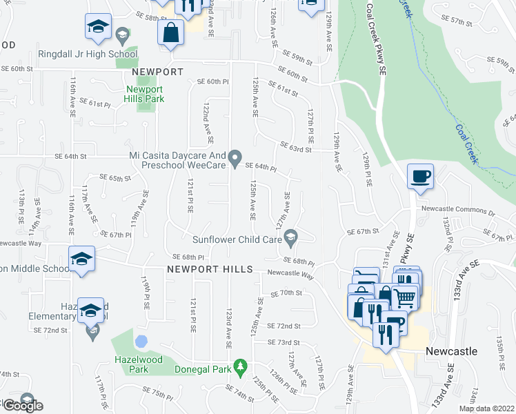 map of restaurants, bars, coffee shops, grocery stores, and more near 6534 125th Avenue Southeast in Bellevue