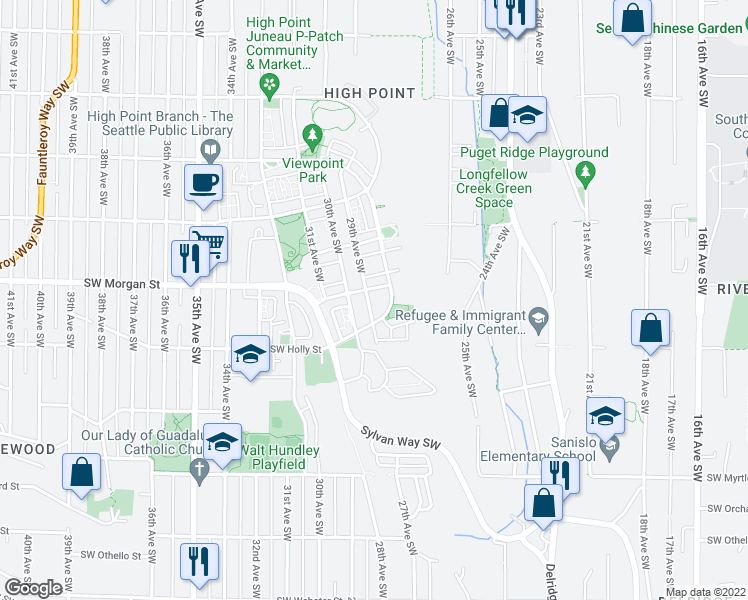 map of restaurants, bars, coffee shops, grocery stores, and more near 6510 29th Avenue Southwest in Seattle