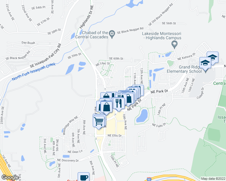 map of restaurants, bars, coffee shops, grocery stores, and more near 949 Northeast Ingram Street in Issaquah