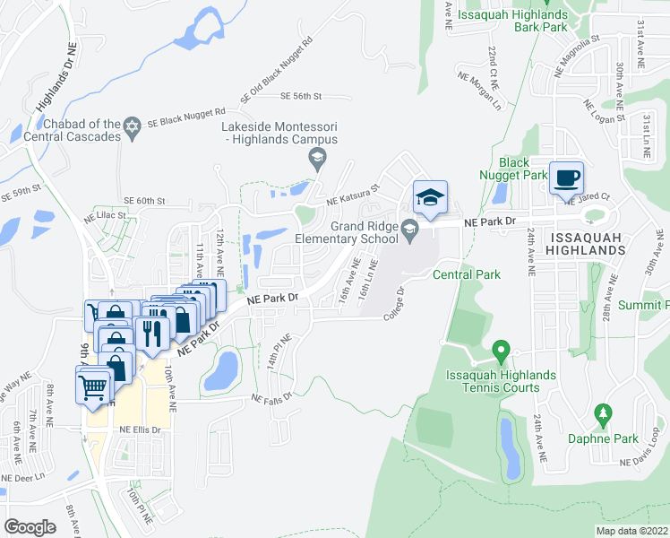 map of restaurants, bars, coffee shops, grocery stores, and more near Northeast Park Drive in Issaquah