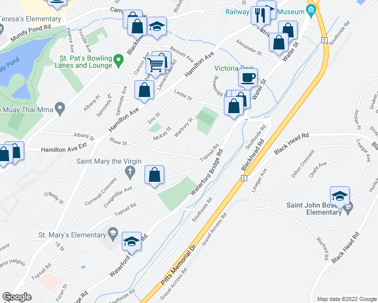 map of restaurants, bars, coffee shops, grocery stores, and more near Mclea Place in St. John's