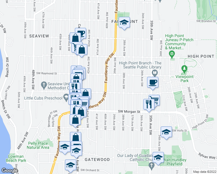 map of restaurants, bars, coffee shops, grocery stores, and more near 6042 Fauntleroy Way Southwest in Seattle