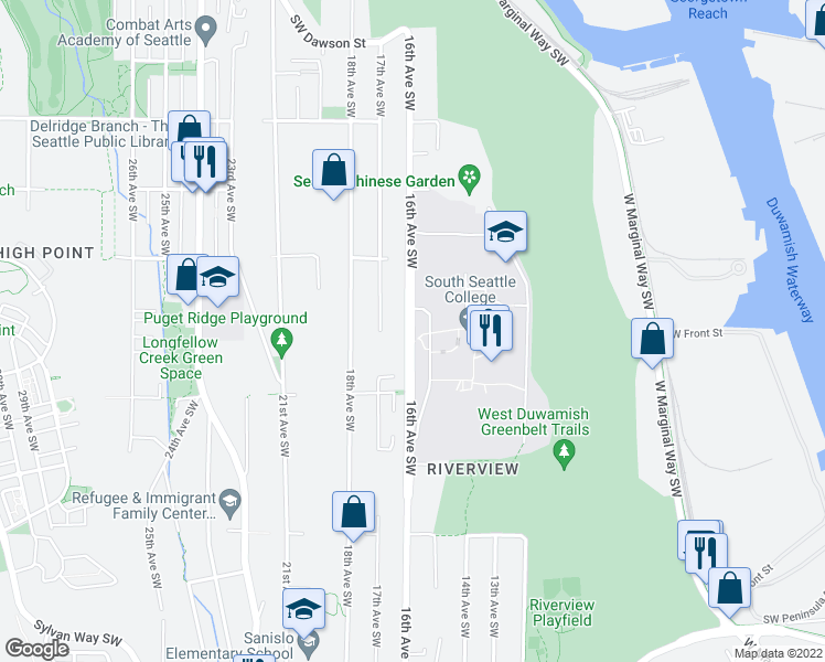 map of restaurants, bars, coffee shops, grocery stores, and more near 5953-6055 16th Avenue Southwest in Seattle