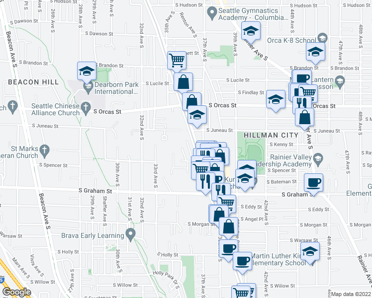 map of restaurants, bars, coffee shops, grocery stores, and more near 5936 36th Avenue South in Seattle
