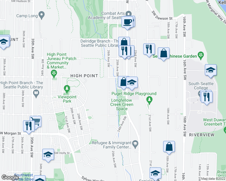 map of restaurants, bars, coffee shops, grocery stores, and more near 5944 26th Avenue Southwest in Seattle