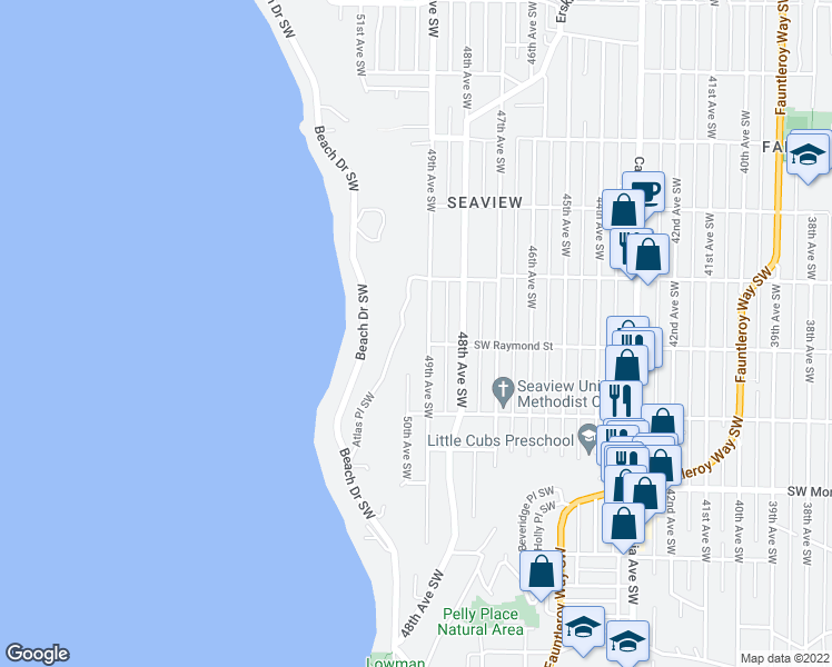 map of restaurants, bars, coffee shops, grocery stores, and more near 5951 49th Avenue Southwest in Seattle