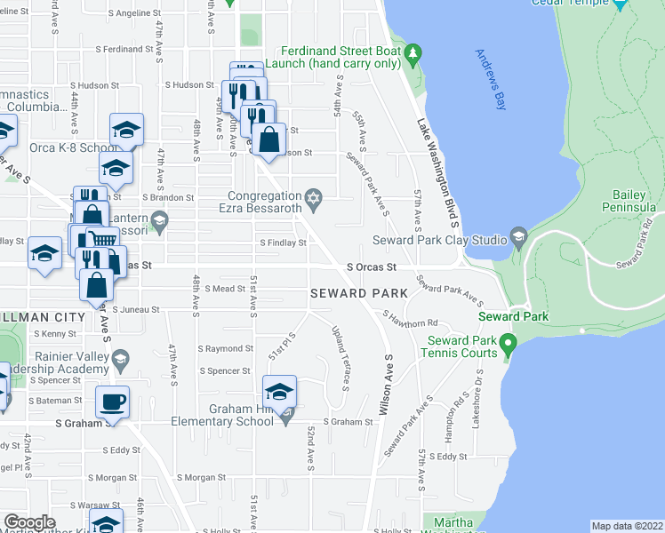map of restaurants, bars, coffee shops, grocery stores, and more near 5607 Wilson Avenue South in Seattle