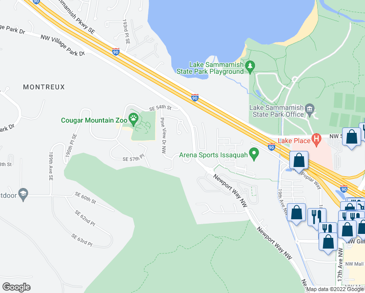 map of restaurants, bars, coffee shops, grocery stores, and more near 2700 Northwest Pine Cone Drive in Issaquah