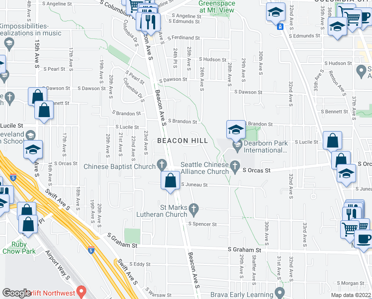 map of restaurants, bars, coffee shops, grocery stores, and more near 2503 South Lucile Street in Seattle